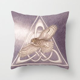 Nuit, the great-horned owl on white Throw Pillow