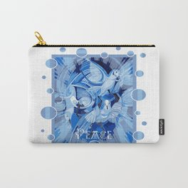 Dove With Celtic Peace Text In Blue Tones Carry-All Pouch