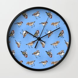 Finches in Blue Wall Clock
