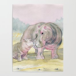 Colorful Mom and Baby Hippo Poster