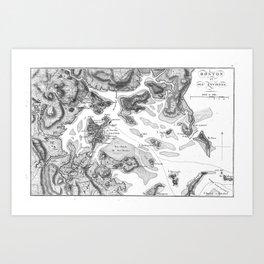 Vintage Map of Boston Harbor (1807) BW Art Print