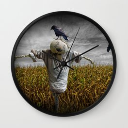 Scarecrow with Black Crows over a Cornfield Wall Clock