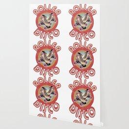Roller Derby Roller Skates - Red & Pink Retro Wallpaper