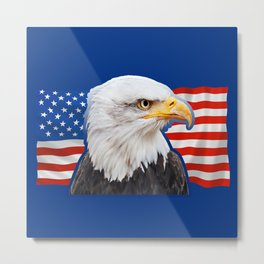 Patriotic Eagle 4th of July American Flag Metal Print