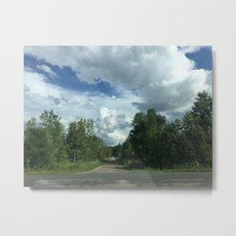 NO EXIT Rural Ontario Road Forest Blue Sky Good Clouds Metal Print