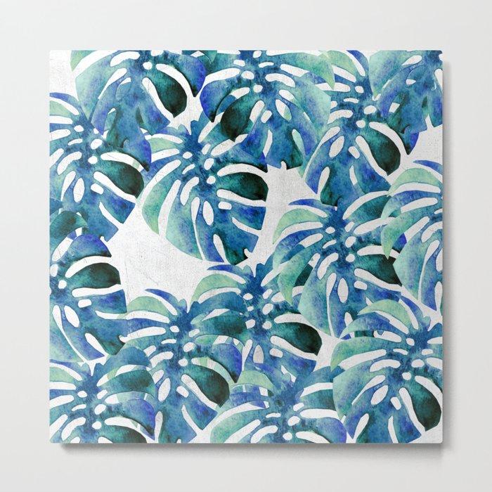 Monstera Pattern Green And Blue Metal Print