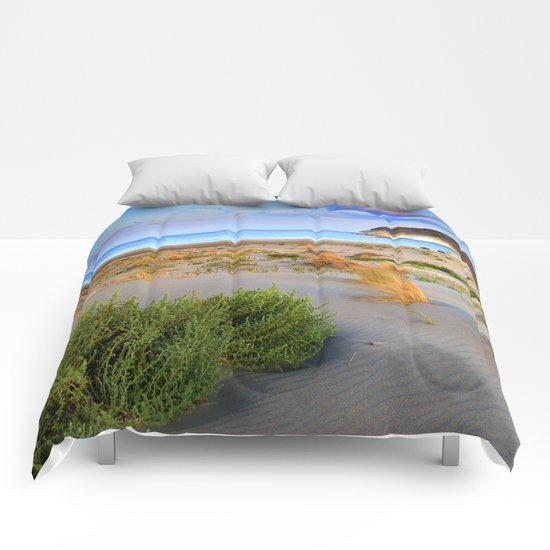 """Genoveses Beach"" Sunset at beach Comforters"