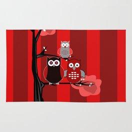 Red Owls Rug