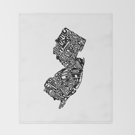 Typographic New Jersey Throw Blanket