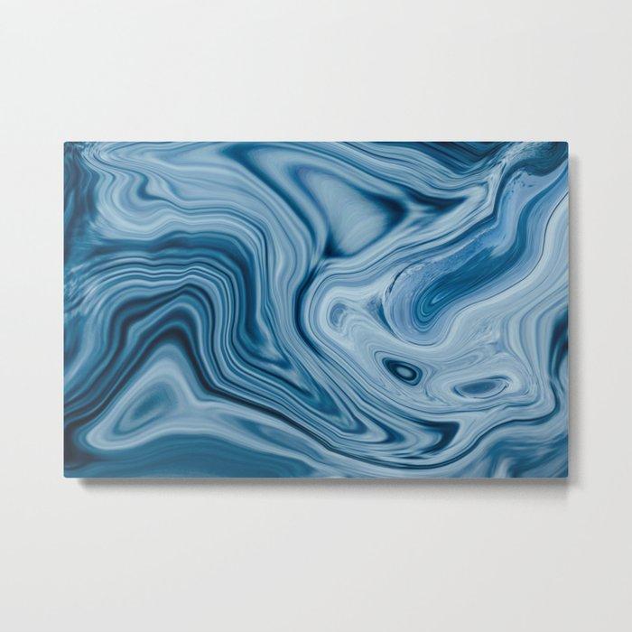 Splash of Blue Swirls, Digital Fluid Art Graphic Design Metal Print