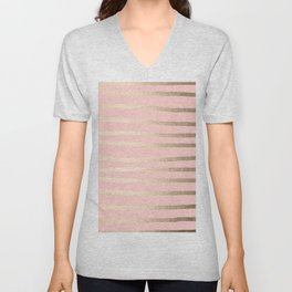 Abstract Drawn Stripes Gold Coral Light Pink Unisex V-Neck