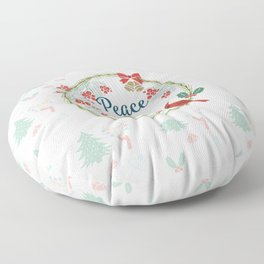 White Christmas Peace on Earth Floor Pillow