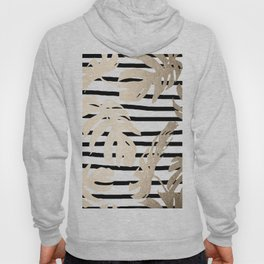 Simply Tropical White Gold Sands Palm Leaves on Stripes Hoody