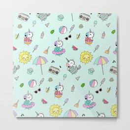 Cute Unicorn Summer Pool Party Metal Print
