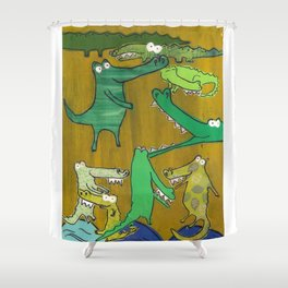 crocs and gators Shower Curtain