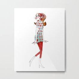 Lady Retro Red Metal Print