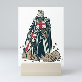 Serious Medieval Knight Crusader Knights Templar Mini Art Print