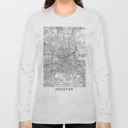 Houston White Map Long Sleeve T-shirt