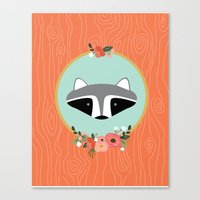 racoon Canvas Prints featuring Racoon by MiniMoons
