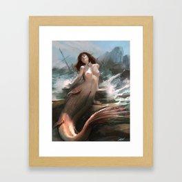 Mermaid sunbathing Framed Art Print
