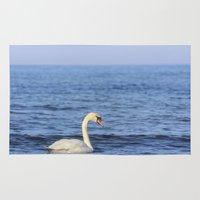 swan Area & Throw Rugs featuring Swan by Susann Mielke