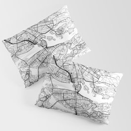 Stockholm White Map Pillow Sham