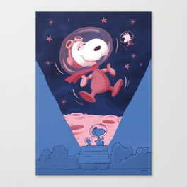 Snoopy on the moon Canvas Print