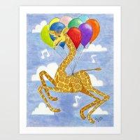 Giraffes in the Air Art Print