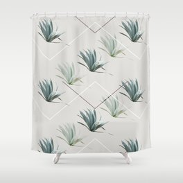 Succulents with Chevrons Shower Curtain