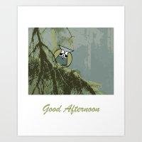 Good Afternoon Owl Art Print