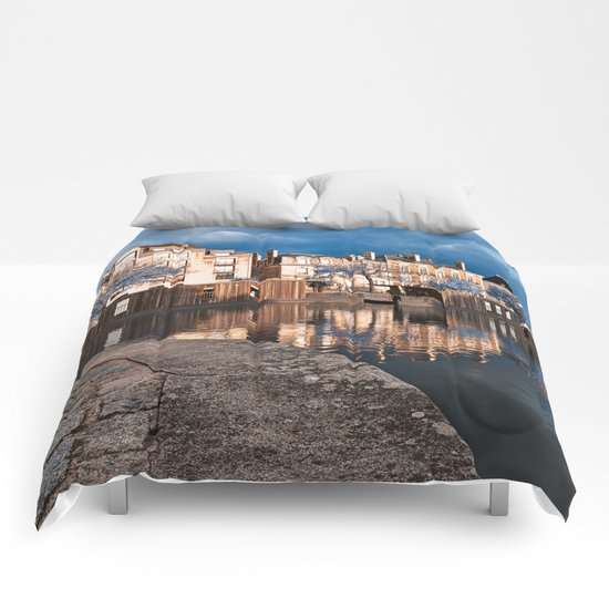 Nantes Riverside Scenery - Winter Blue Fantasy Comforters