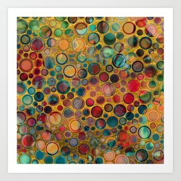 Dots on Painted and Gold Background Art Print
