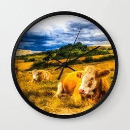 Resting Heifers Art Wall Clock