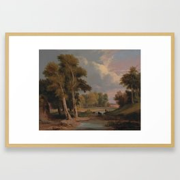 A Wooded River Landscape with Fishermen by James Arthur O'Connor, circa 1830 Framed Art Print