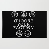 divergent Area & Throw Rugs featuring Divergent - Choose Your Faction (White) by Lunil