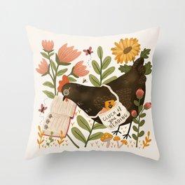 Chicken Reading a Book Throw Pillow