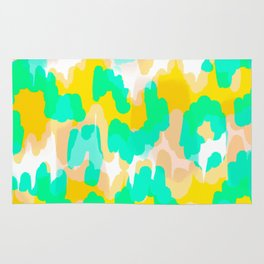 Sara - bright turquoise, green, blue abstract art Rug