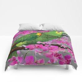 TROPICAL GREEN PARROT & FUCHSIA ORCHIDS  GREY ART Comforters