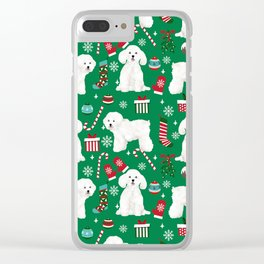 Bichon Frise Christmas dog breed pattern mittens stockings presents dog lover Clear iPhone Case