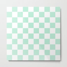 Checker Cross Square Mint Green Metal Print