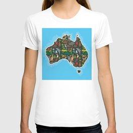 map of Australia. Wombat Echidna Platypus Emu Tasmanian devil Cockatoo kangaroo dingo octopus fish T-shirt