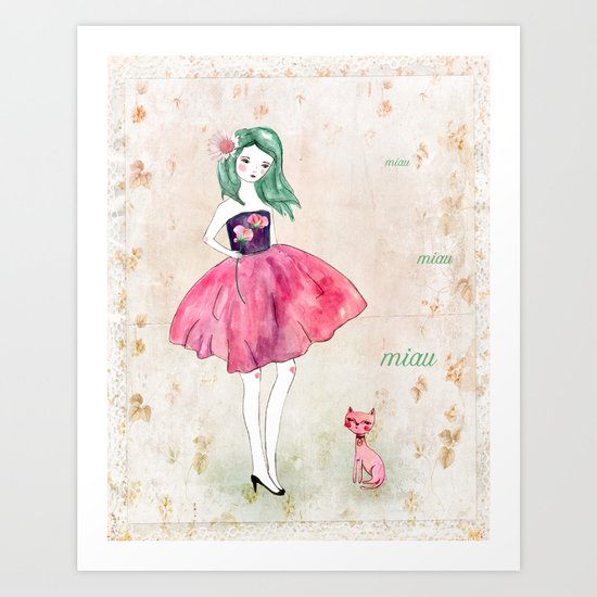 Pink cat Art Print