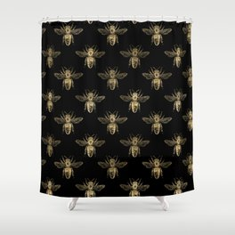 Black and Gold Bee Pattern Shower Curtain