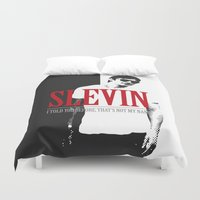 scarface Duvet Covers featuring Lucky Scarface Slevin. by Agu Luque