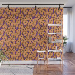 Puya Golden Flowers Tropical Floral Pattern Gold Violet Wall Mural