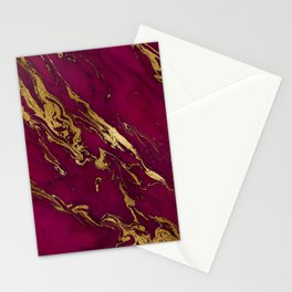 Marsala Marble and Gold Foil Stationery Cards