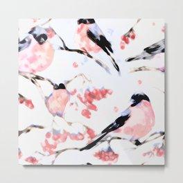 Christmas Seamless Bird Pattern Metal Print