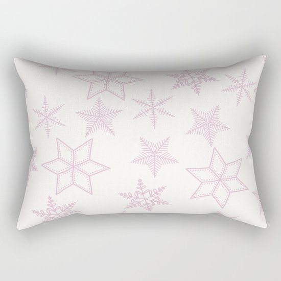 Pink Snowflakes On White Background Rectangular Pillow