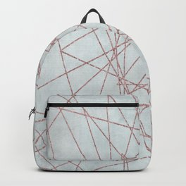 Rose Gold Glitter Line Art On Teal Backpack
