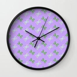 Modern artistic violet green butterfly illustration pattern Wall Clock